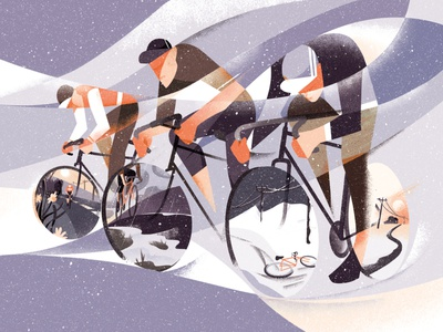 Primavera landscape eleni debo conceptual sport cycling texture editorial folioart digital illustration