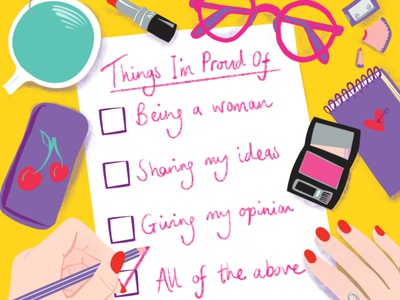 Women in Business procreate editorial josie jo desk folioart digital illustration