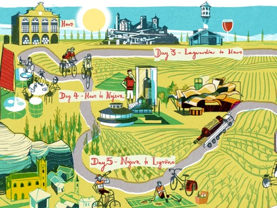 Rioja editorial alex green spain travel map landscape folioart digital illustration