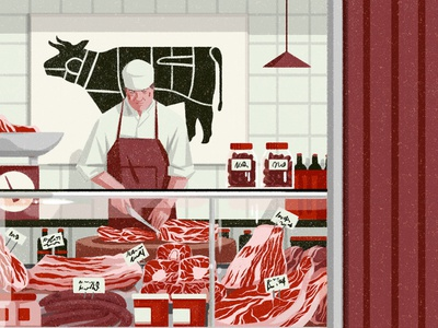 Butchers xuetong wang meat texture character editorial folioart digital illustration