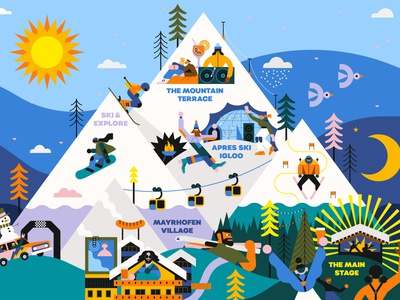 Planet Snowbombing vector map landscape character folioart digital illustration