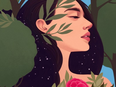 Pocahontas botanical nature mercedes debellard character conceptual portrait folioart digital illustration