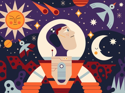 Space vectonator vector owen davey space character folioart digital illustration