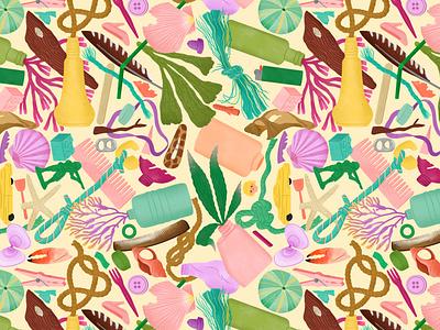 Beach Finds folioart illustration digital procreate bodil jane beach pattern packaging