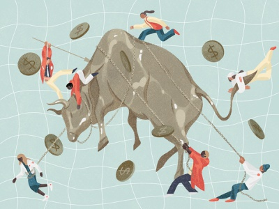 Wall Street xuetong wang business finance conceptual texture editorial folioart digital illustration