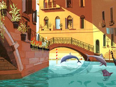Anthropause wildlife city animals alex green travel texture editorial folioart digital illustration