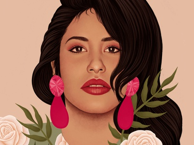 Selena mercedes debellard floral portrait realist folioart digital illustration