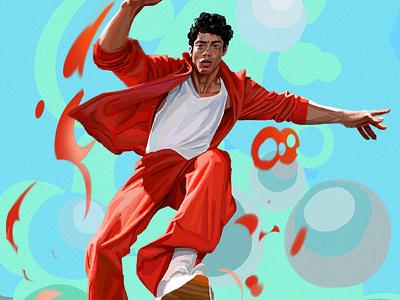 Leap daniel clarke fashion graphic character folioart digital illustration