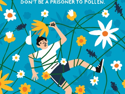 Hayfever michael parkin character advertising flowers folioart digital illustration