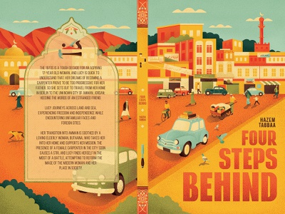 Four Steps Behind texture muti transport travel city book cover folioart digital illustration