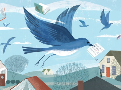 Book sam kalda book bird landscape texture editorial folioart digital illustration