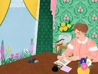 Agnes Grey book cover publishing floral texture character folioart digital illustration