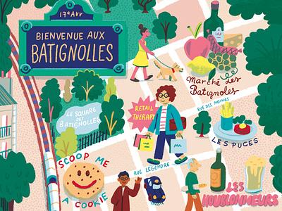 Bienvenue Aux Batignolles food france travel map andres lozano character editorial folioart digital illustration