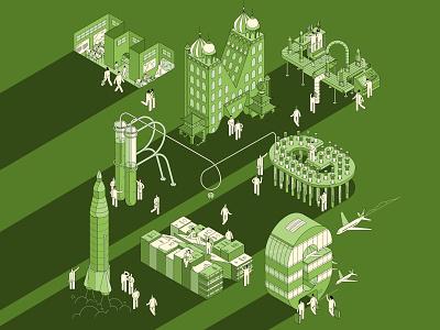 Emerging Economies editorial line muti business education industry technology isometric vector folioart digital illustration