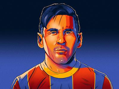 Messi alexander wells sport football portrait editorial folioart digital illustration