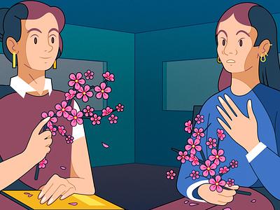 Therapist kiki ljung characters conceptual floral vector editorial folioart digital illustration