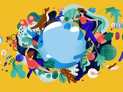 Sustainability chu-chieh lee characters earth sustainability environment editorial folioart digital illustration