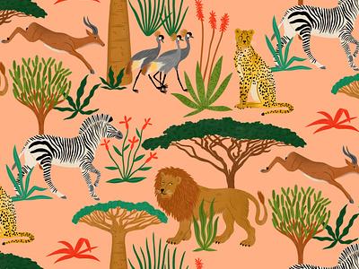 Savanna bodil jane africa pattern nature animals folioart digital illustration