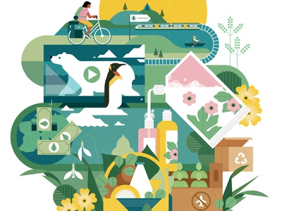 ECO² sally caulwell environment nature cover magazine vector editorial folioart digital illustration