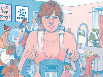 Gyms sarah maxwell portrait exercise texture editorial folioart digital illustration