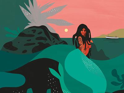 Mermaid book cover publishing narrative landscape character folioart digital illustration