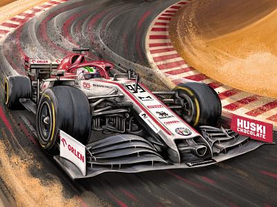 Sakhir GP muti texture realist car poster folioart digital illustration
