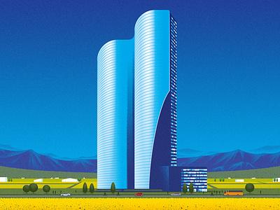Imagine building landscape architecture technology innvoation kouzou sakai texture editorial folioart digital illustration