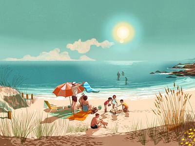Summer Sale alex green family holiday clothing summer advertising landscape folioart digital illustration