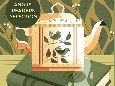 Tea maite franchi book tea birds texture editorial folioart digital illustration