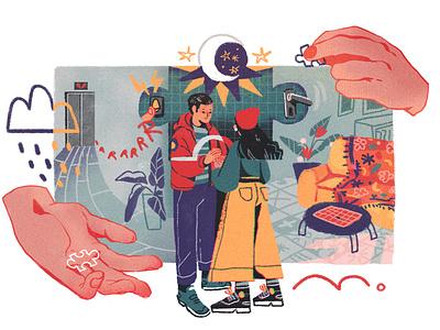 Long-Term camelia pham texture relationship character conceptual editorial folioart digital illustration