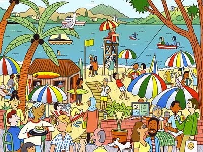 Smile folioart colourful line drawing character andres lozano wheres wally advertising digital illustration