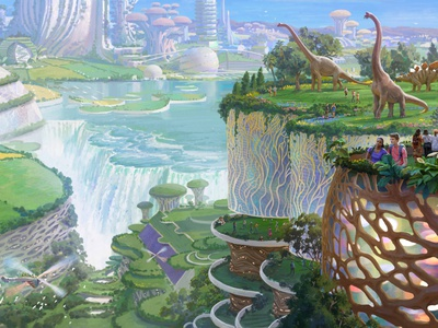 Grow Everything daniel clarke futuristic digital painting advertising billboard folioart digital illustration