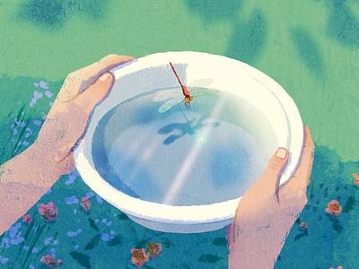 Eco-Anxiety hifumiyo dragonfly nature folioart editorial digital illustration