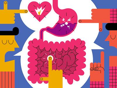 Gut Health john devolle science food character health editorial vector folioart digital illustration