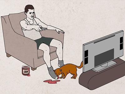 Son Of Alan - Dave - Folio man sofa tv digital illustration