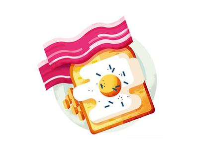 Maite Franchi - Folio advertising design breakfast eggs bacon toast art digital illustration food