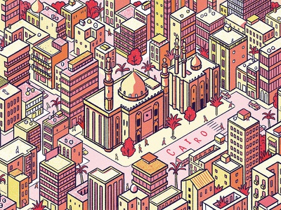 Cairo calendar city egypt illustration