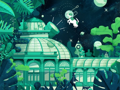 Greenhouse Mural big mural green garden illustration