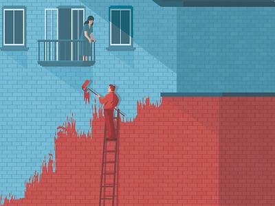 Atlantic digital design blue red art illustration