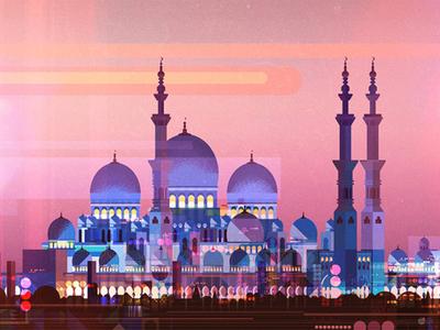 Mosque sunset texture digital art glitch illustration city landscape mosque