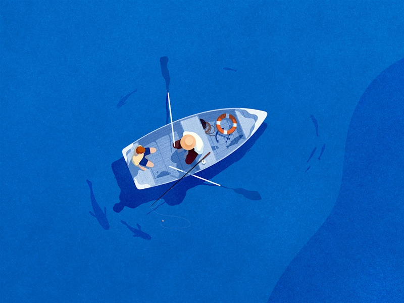 Facebook boat lake digital texture illustration fishing son father