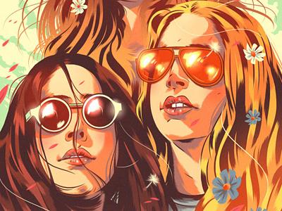 Rolling Stone summer women digital illustration editorial music celebrities portrait
