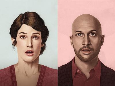 Guardian illustration watercolour pencil actors netflix tv celebrity portrait editorial
