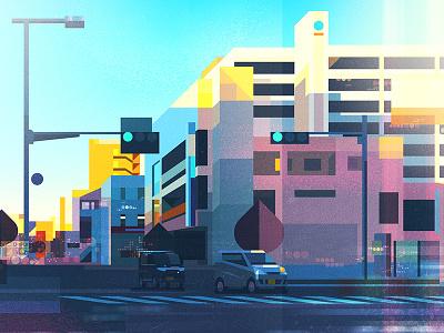 Japan By Car car city shapes japan illustration graphic glitch digital colour