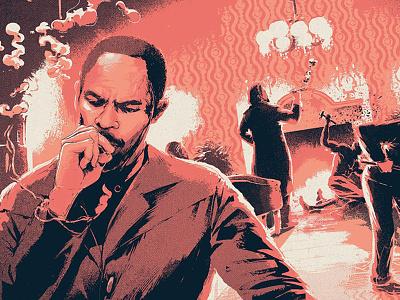 Django Unchained figurative action smoke portrait screenprint film poster illustration