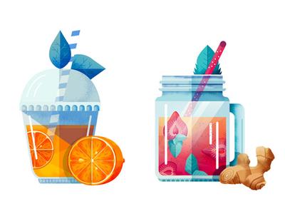 Huffington Post texture digital fruit summer smoothie juice illustration food drink