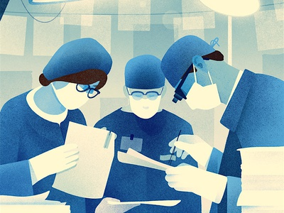 University Of Michigan editorial illustration hospital office paperwork surgery theatre doctors
