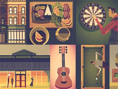 Cincinnati Magazine food music darts illustration digital texture architecture characters alcohol bars editorial