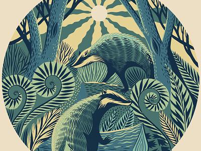 Berkshire Badgers print illustration animal foliage digital pattern nature badgers