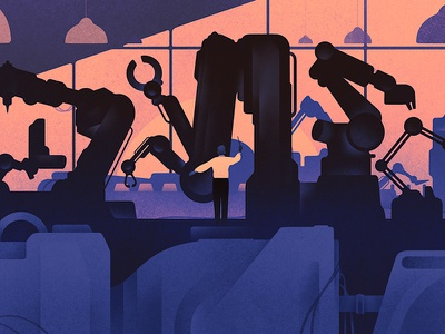 Zetland machinery concert editorial illustration futuristic robot industrial conductor technology